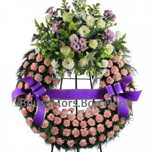 Corona Funeraria Rosada