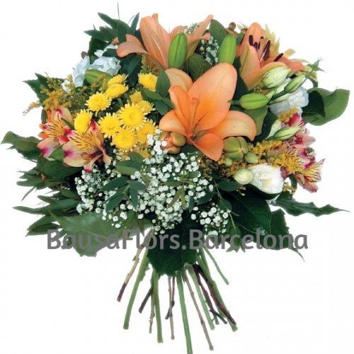 bouquet tonos naranjas